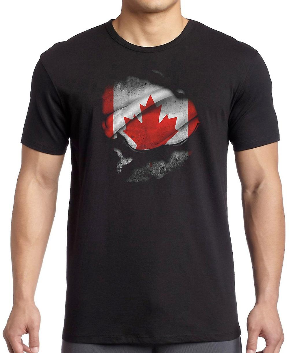 Canadian Canada Ripped Effect Under Shirt Women T Shirt