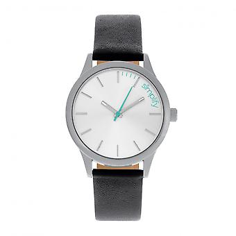Simplify The 2400 Leather-Band Unisex Watch - Silver