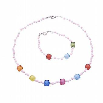 Jewelry For Girls Necklace & Bracelet Set Multicolored Beads