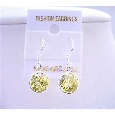 Olive Stud sterling Silver 92.5 Earrings 10mm Olive Cz stud Earrings