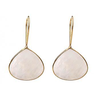Gemshine dame øreringe 925 sølv forgyldt Moonstone hvid 4 cm