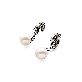 White pearls and stones Cz and plate earrings white gold
