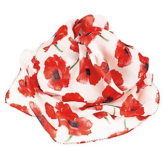 Eternal Collection Forever Poppy Red And White Multi Coloured Pure Silk Scarf