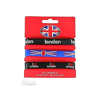 Union Jack use Set de 3 pulseras de silicona de Union Jack London