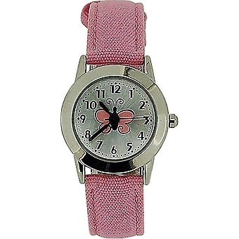 Limit Girls Analogue Silver Dial Butterfly Motiff Pink Fabric Strap Watch 6662