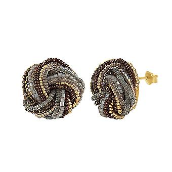 Eternal Collection Terra Murano Glass Torsade Pierced Earrings