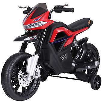 HOMCOM 6V Ride On Battery Powered Motorcycle Forward Reverse Brake Electric Vehicle Outdoor Fun Working Lights Music Play Wide Wheels - Red