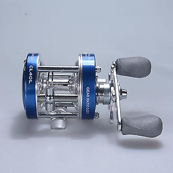 Baitcaster reel with oversized handle blue left hand
