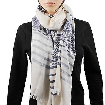 Pashmina 100% scarf stripe white Blue