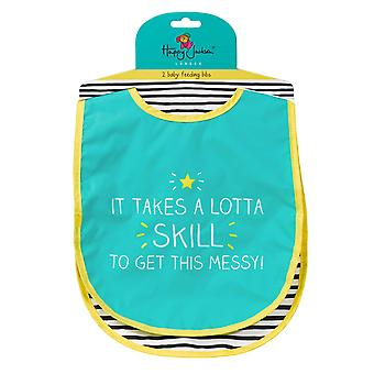 Nom! / Lotta Skill Two Bib Set by Happy Jackson