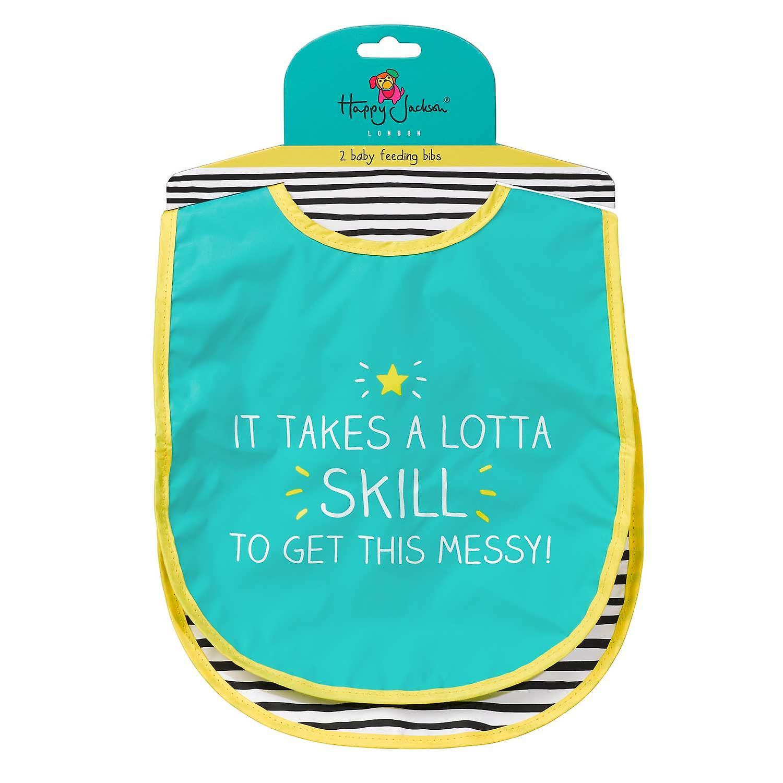 Nom! / Lotta Skill Two Bib Set by Happy Jackson