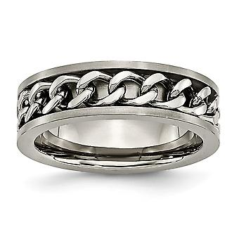 Titanium Brushed Engravable 7mm Chain Bracelet Inlay Satin Band Ring - Ring Size: 6 to 10
