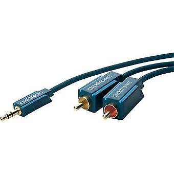 Jack / RCA Audio/phono Cable [1x Jack plug 3.5 mm - 2x RCA plug (phono)] 2 m Blue gold plated connectors clicktronic