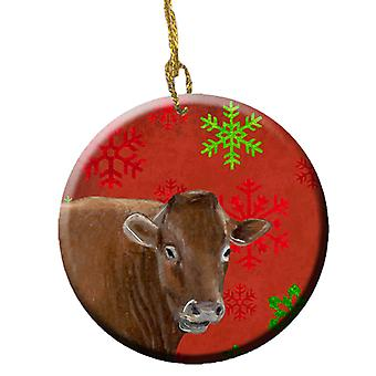 Cow Red Snowflakes Holiday Christmas  Ceramic Ornament SB3126CO1