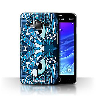 STUFF4 Case/Cover for Samsung Z1/Z130/Owl-Blue/Aztec Animal