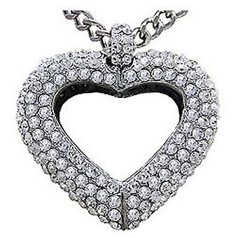 Butler and Wilson Chunky Crystal Heart Pendant Necklace