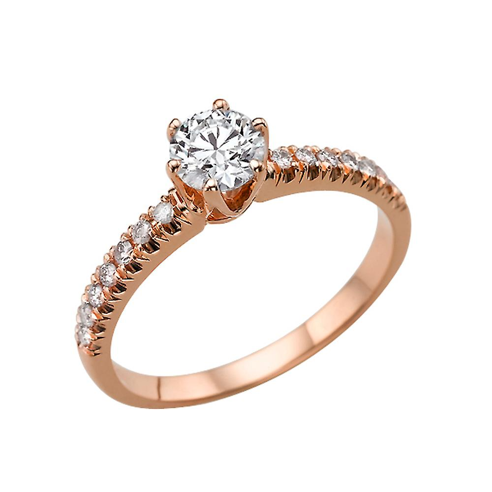 1.14 Carat E SI1 Diamond Engagement Ring 14K Rose Gold Solitaire w Accents Classic 6 prongs