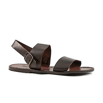 Handmade mens sandals in dark brown leather made in Italy