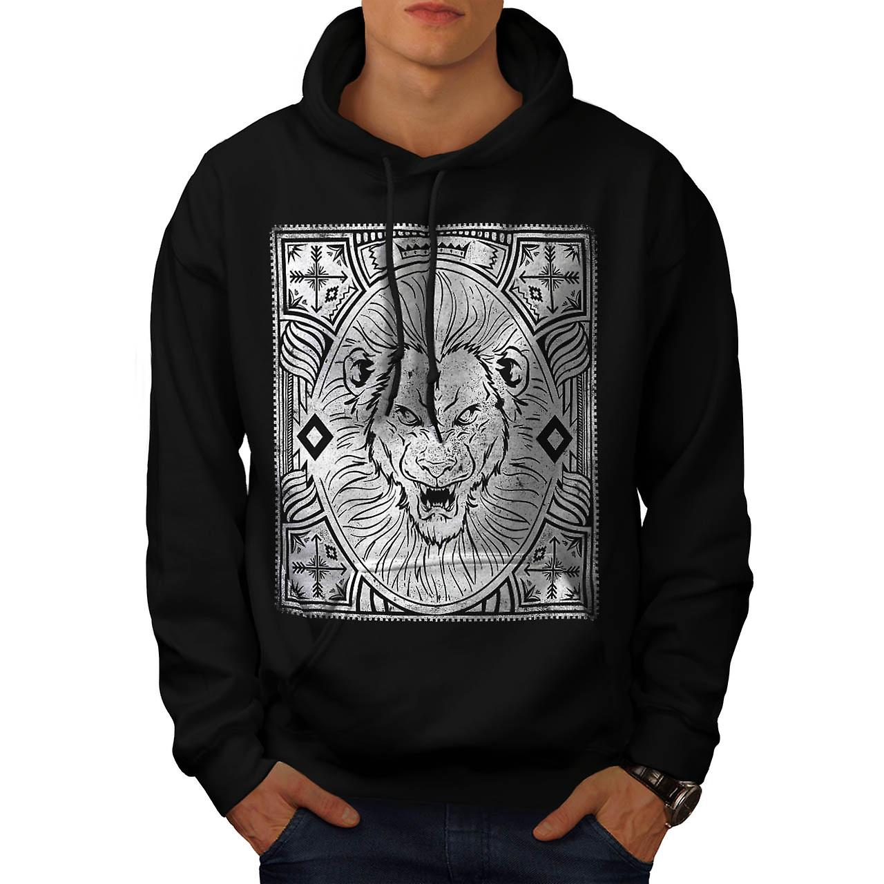 King Jungle Lion  Wildlife Men Black Hoodie | Wellcoda