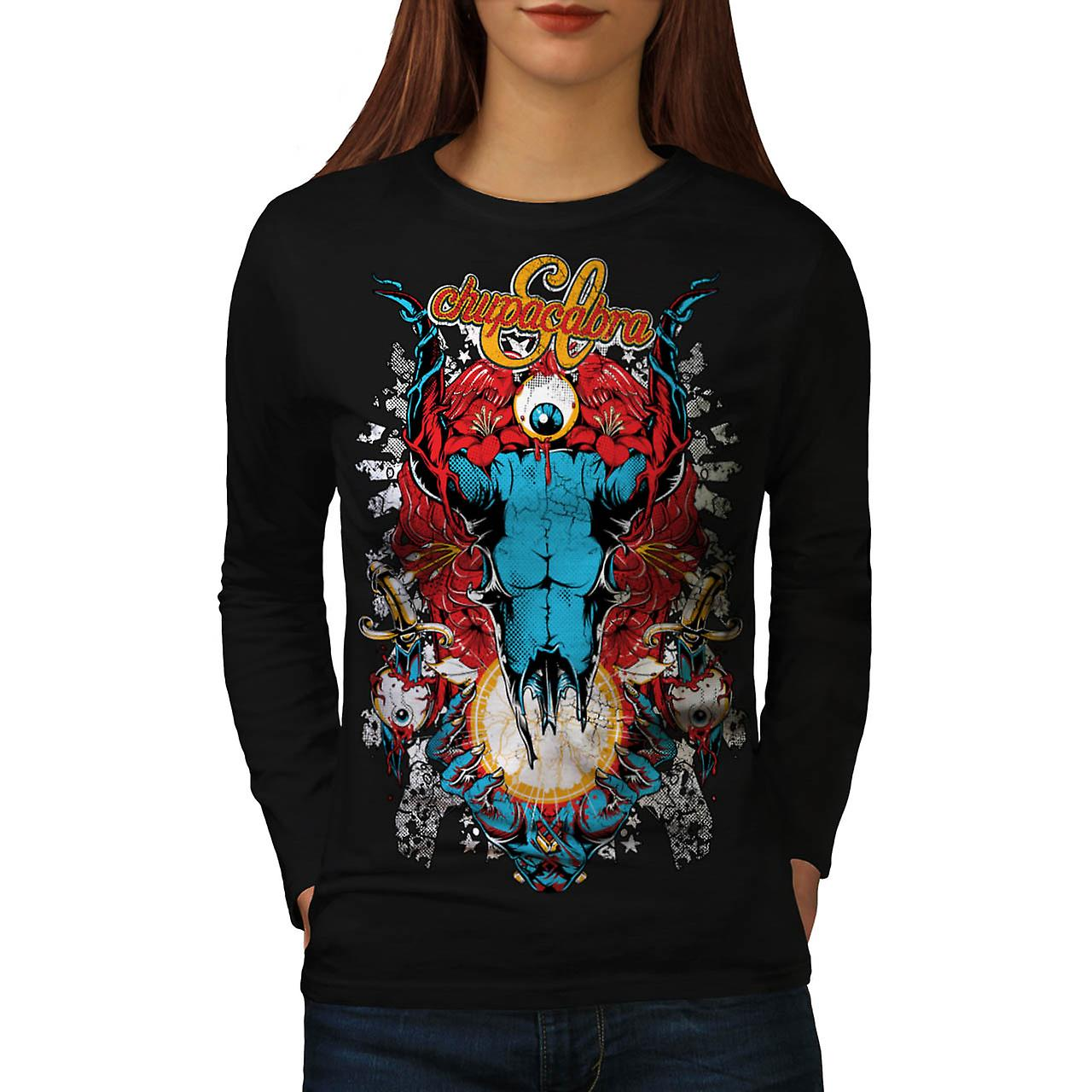 Chupacabra Demon Hell King Satan Women Black Long Sleeve T-shirt | Wellcoda