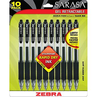 Sarasa Retractable RDI Gel Pen .7mm 10/Pkg-Black Z46871