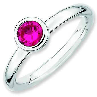 Sterling Silver Expressions empilable faible 5mm ronde CR. Ruby bague - bague taille: 5 à 10