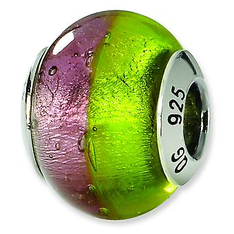 Sterling Silver Reflections Pink Green Italian Murano Bead Charm