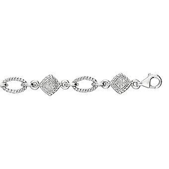 スターリングシルバー 0.25 ct ダイヤモンド代替リッジ ホワイトスクエア Op En ブレスレット ロブスタークラスプ - 7.25 インチ