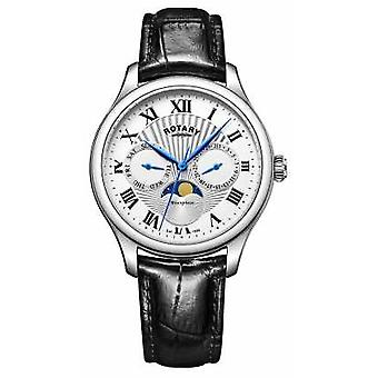 Rotary Mens Moonphase Black Leather Strap Silver Dial GS05065/01 Watch