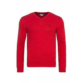 U.S. POLO ASSN. V neck sweater men's sweater red 173 42964 51894 155