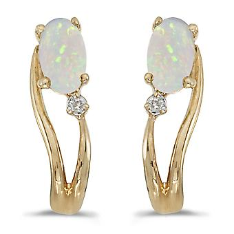 14k Gelb Gold Oval Opal und Diamant Wave Ohrringe