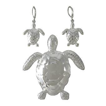 Chrom-plattiert Meeresschildkröte Pin / Anhänger Ohrringe Set