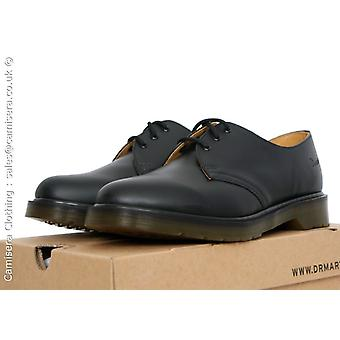 UK 13 14 15 Dr Martens AirWair 1461pw noir cuir 3 eye Shoe lisses lisses Docs