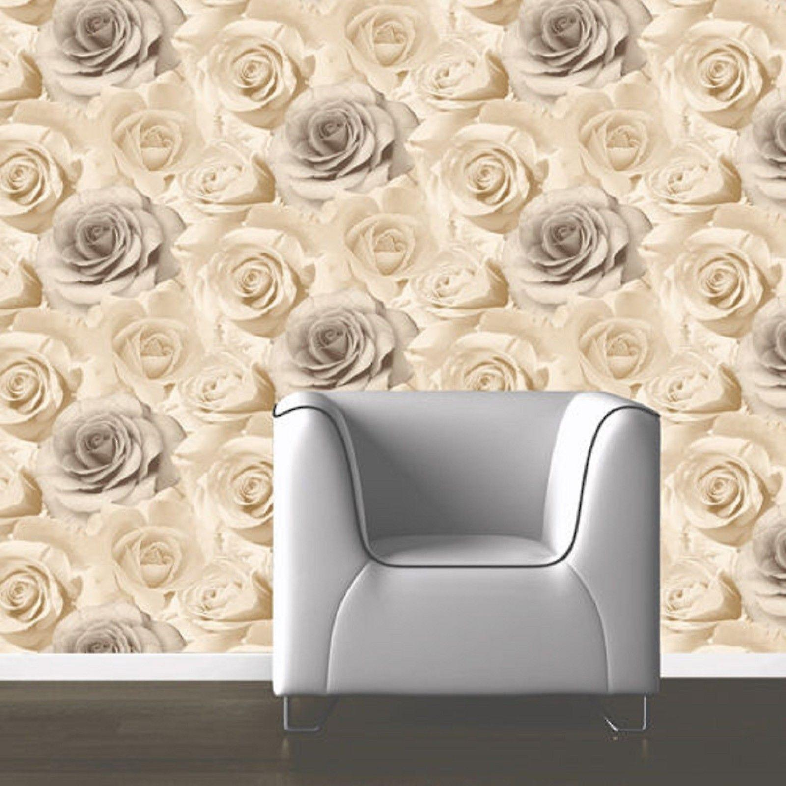 Muriva Madison Floral Flower Rose Bloom Beige Feature Wallpaper