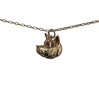 9ct Gold 19x19mm Pig Head Pendant with a belcher Chain 16 inches Only Suitable for Children