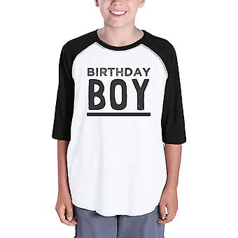 Baby Boy Baseball Tee For Boys Birthday Gift Tee 3/4 Black Sleeve