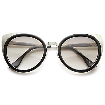 Womens Two-Toned Metal Temple Tinted Lens Cat Eye Sunglasses 54mm