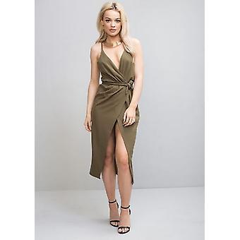 Plunge Wrap Over Tie Midi Dress Khaki Green
