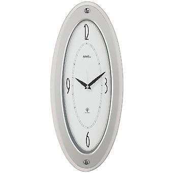 Radio-controlled clock wall clock radio silver painted wooden casing faceted mineral glass