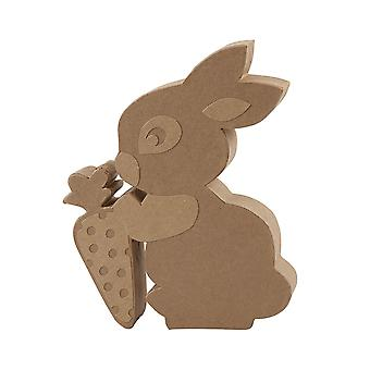 Paper Mache Standing Easter Bunny Rabbit with Carrot - 18cm