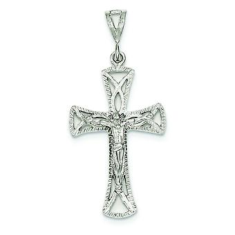 Sterling Silver Solid Cut-out Polished Crucifix Pendant - 3.3 Grams
