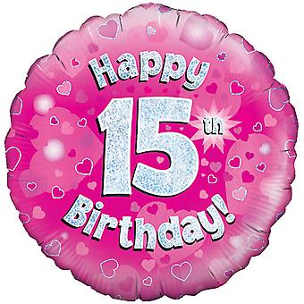 Oaktree 18 Inch Happy 15th Birthday Pink Holographic Balloon