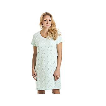 Camille Aqua bleu et blanc chemise de nuit imprimé Floral