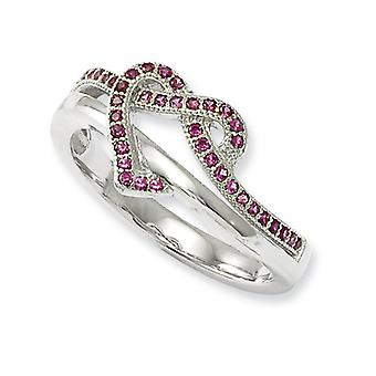 Sterling Silver Pave Rhodium-plated and Cubic Zirconia Brilliant Embers Heart Ring - Ring Size: 6 to 8