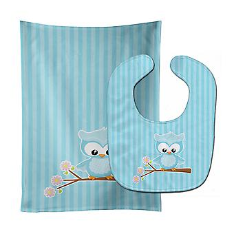 Carolines Treasures  BB9048STBU Girl Bird on Branch Baby Bib & Burp Cloth