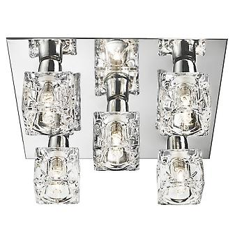 2275-5 5 Light Modern Ice Cube Ceiling Light with Chrome Back plate