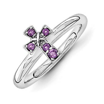 2.25mm Sterling Silver Rhodium-plated Stackable Expressions Rhodium Amethyst Cross Ring - Ring Size: 5 to 10
