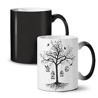 Fantastic Cage Tree NEW Black Colour Changing Tea Coffee Ceramic Mug 11 oz | Wellcoda