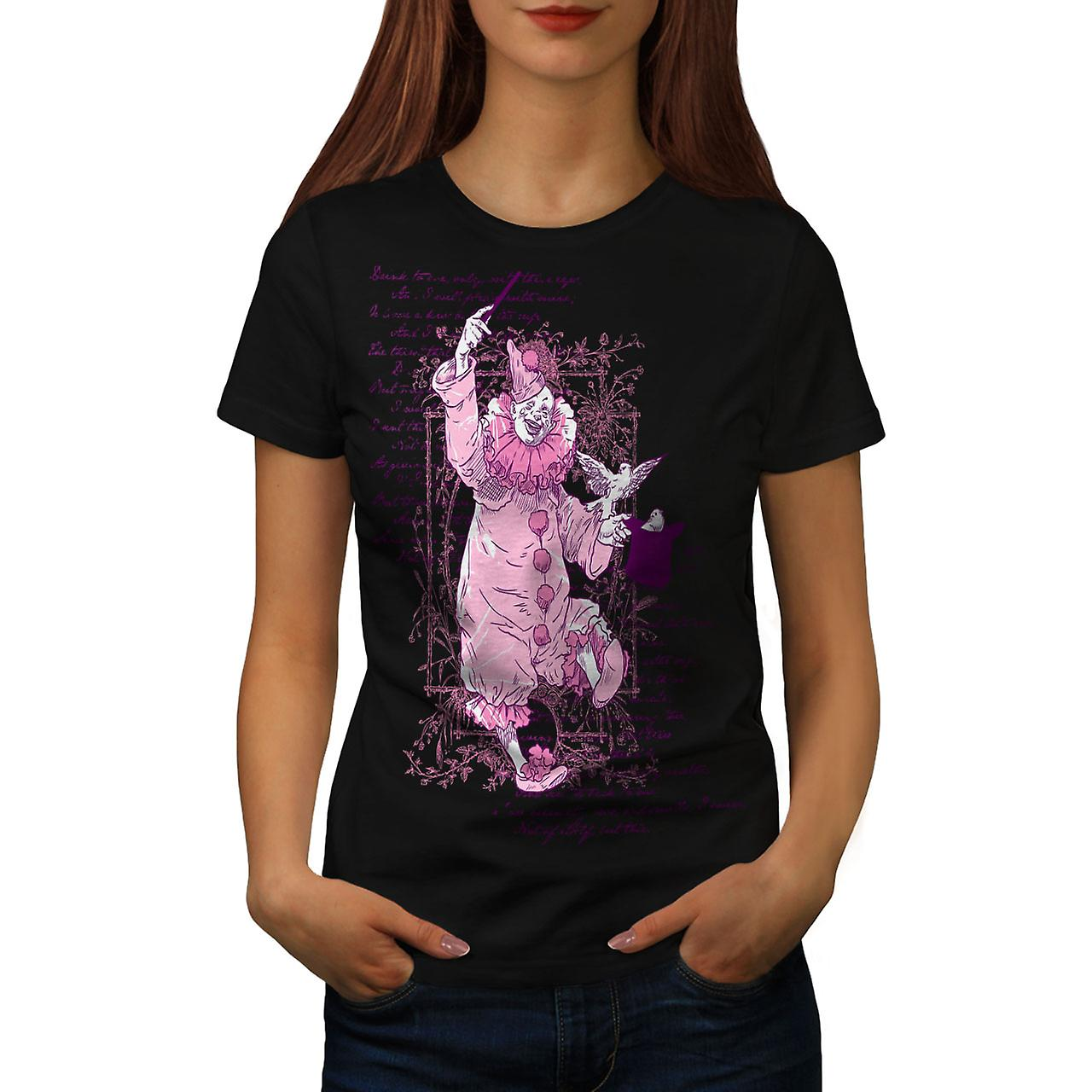 Pink Scary Clown Horror Women Black T-shirt | Wellcoda