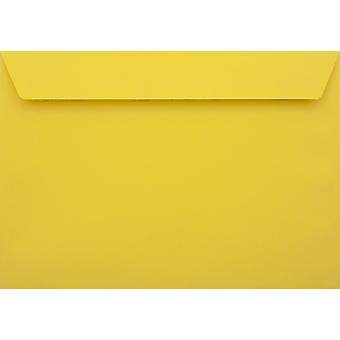 Banana Yellow Peel/Seal C6/A6 Coloured Yellow Envelopes. 120gsm Luxury FSC Certified Paper. 114mm x 162mm. Wallet Style Envelope.